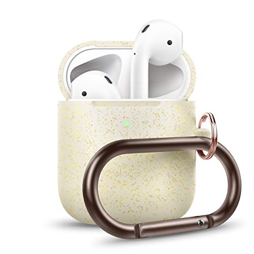 elago AirPods Hang Case [Nightglow Gold] - Compatible with Apple AirPods 1 & 2, Front LED Visible, Supports Wireless Charging, Extra Protection, Added Carabiner