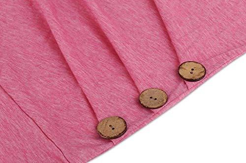 Couleur Woman Zhrui boutonné S manches shirt Rose Taille T à Femme courtes d8q4rn8w