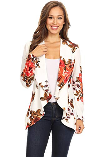 Women's Stretch Long Sleeves Open Front Blazer/Made in USA (S-3XL) Floral White S (In Clothing Women Made Usa)