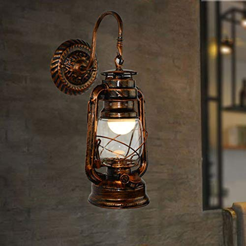 NIUYAO Nautical Style Lantern Wall Lighting Wall Light Sconce in Antique Copper, Country Style Wall Hanging Lamp with Gooseneck for Courtyard Bedroom Corridor Staircase Hall Restaurant Porch