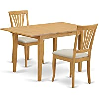 East West Furniture NOAV3-OAK-C 3 Piece Kitchen Table and 2 Chairs Small Set