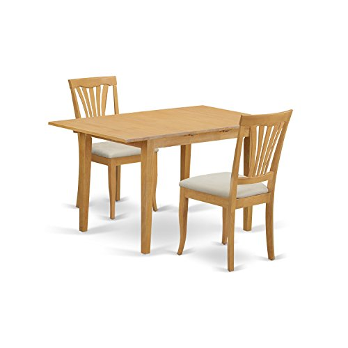 East West Furniture NOAV3-OAK-C 3 Piece Kitchen Table and 2 Chairs Small Set - 2 Piece Oak Desk