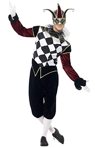 Smiffys Men's Gothic Venetian Harlequin Costume, Top, pants and Collar, Carnival of the Damned, Halloween, Size L, -