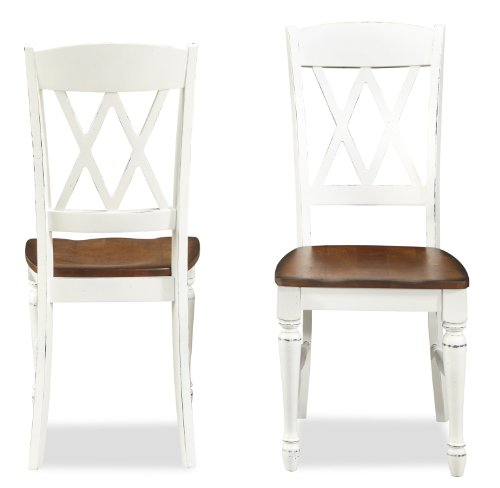 - Monarch White/Oak Stools by Home Styles