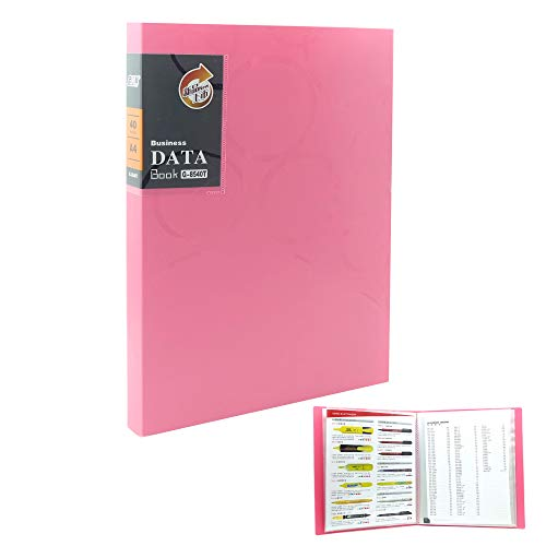 (Protector Clear Book Clear File Folders 40-Pocket Business A4 Sheet Presentation Book Organizer Binder 80-Page Capacity Available for Report Sheets (Pink))
