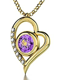 """Gold Plated Zodiac Heart Pendant Leo Necklace 24k Gold inscribed on Crystal, 18"""" Gold Filled Chain - NanoStyle Jewelry"""
