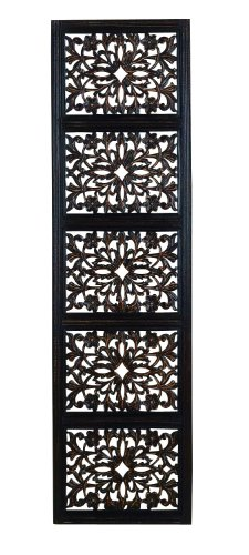 Deco 79 32661 Ebony Black Hand Carved Wood Wall Decor - Mirror Online India