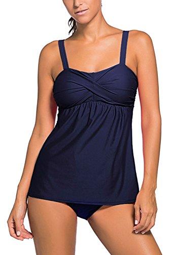 [Minetom Bikini Women Summer Fashion Harness Swimwear With Shorts Beachwear Two Pieces Swimsuit Shape Optimizer Tankinis Blue US] (Racer Girl Romper Costumes)