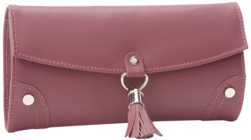 - Paylak TS10774BUR Plum Leather Jewelry Travel Bag with Silver Tassel Closure