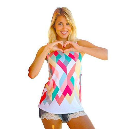 (Women Summer Sleeveless Loose Geometry Print Girls Blouse Tank Tops T-Shirt KIKOY)