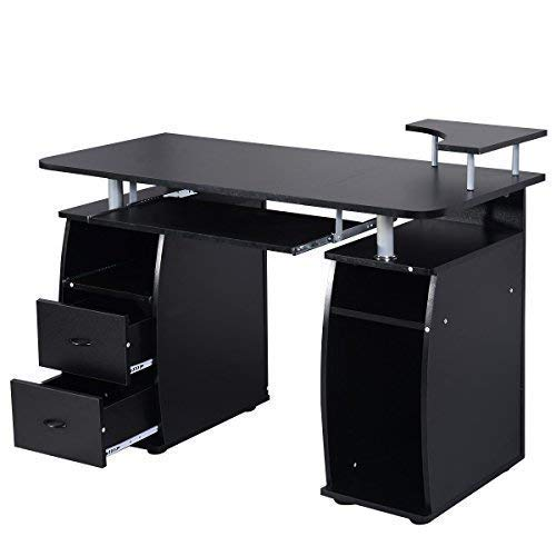 Pull Out Printer Shelf - TANGKULA Wood Computer Desk Home Office Desk Laptop PC Computer Workstation with Storage Drawer, Pull-Out Keyboard Tray & Monitor Stand and Printer Shelf, Black