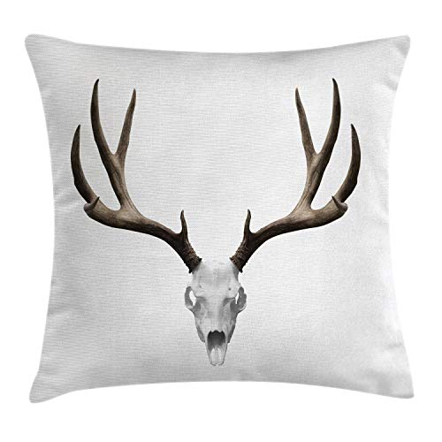 Ambesonne Antlers Throw Pillow Cushion Cover, A Deer Skull Skeleton Head Bone Halloween Weathered Hunter Theme Motif, Decorative Square Accent Pillow Case, 24 X 24 Inches, Warm Taupe Pale Grey