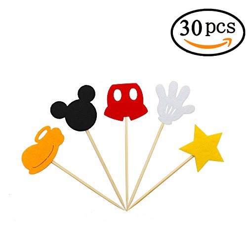 Mickey Mouse Inspired Cupcake Toppers Kids Birthday Party Cake Decoration Supplies
