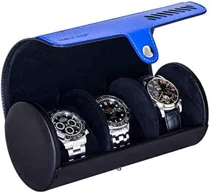 Watch Roll, Travel Watch Case for 3 Watch, Travel Watch Box with Velvet Sections to Prevent Scratching or Impact from Watches (Black)