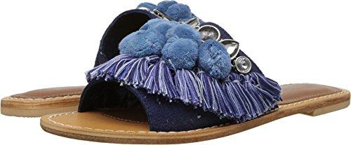 Kenneth Cole New York Women's Osmond Fringe Pom Detail Slide Sandal, Blue Denim, 7 M US