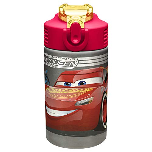 Price comparison product image Zak Designs Cars 15.5oz Stainless Steel Kids Water Bottle with Flip-up Straw Spout - BPA Free Durable Design,  Cars 3 SS