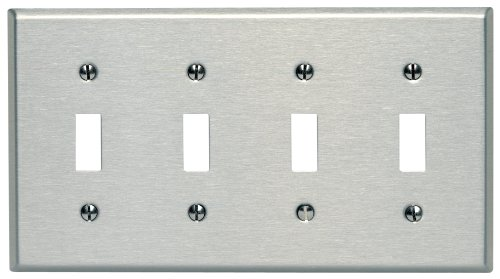Leviton 84012 4-Gang Toggle Device Switch Wallplate, Standard Size, Device Mount, Stainless ()