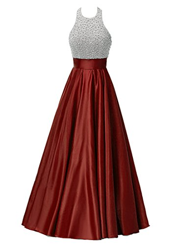 Zechun Women's Beaded Halterneck Prom Dress With Pocket Satin Long Evening Gown Burgundy US2 Sequins Halter Prom Formal Dress