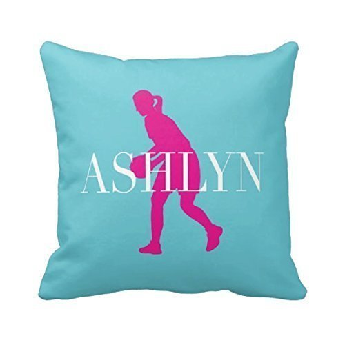Basketball Throw Pillow Cover, Personalized, Custom, Girl's Name, Light Green, Purple, ANY COLOR, 16x16