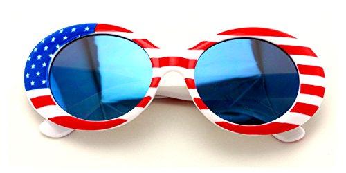 V.W.E. Vintage Sunglasses UV400 Bold Retro Oval Mod Thick Frame Sunglasses Clout Goggles White USA American Flag (Blue Mirror Lens)