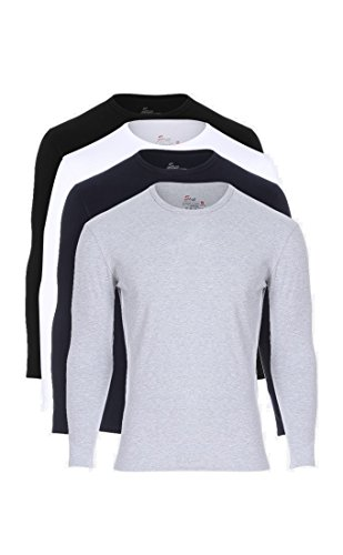Solo® 4er Pack Herren Unterhemden. Cotton Stretch, Body-fit, elastischen Herren Unterhemden, sehr weich, Langärmiges T-Shirt. Raound Neck. ägyptischer Baumwolle