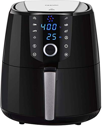 OMORC 4QT Air Fryer L Compact Size(For 2-5 People), Hot Air Fryer Oven, Oilless Air Fryer w/Quick Knob & Touch Screen, Air Cooker w/8-15 Presets, Keep Warm, Suitable for Dishwasher, Recipe, 1400W