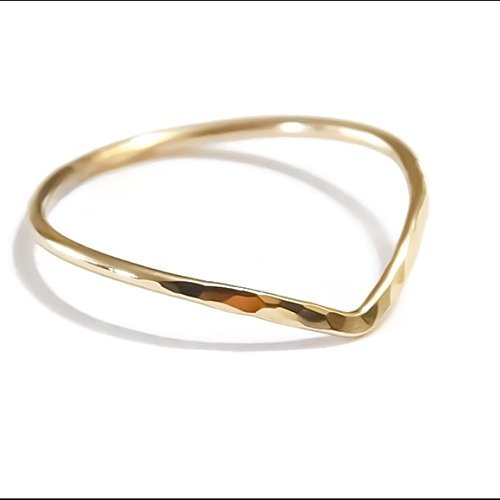 Hammered Chevron Ring 925 Sterling Silver/14K Yellow/Rose Gold Filled Sizes 2 3 4 5 6 7 8 9 10 11 12 13 - 14k Gold Chevron