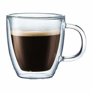 Bodum BISTRO Coffee Mug, Double-Wall Insulated Glass Espresso Mugs, Clear, 10 Ounces Each (Set of 2)