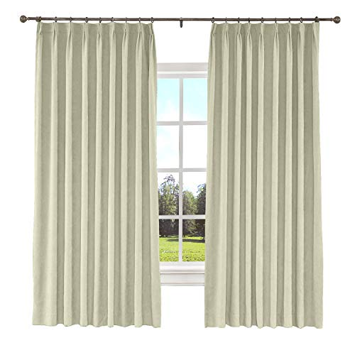 "ChadMade Blackout Curtain Panel Polyester Cotton 72"" W x 84"" L Drapery with Blackout Lining Pinch Pleat Thermal Curtains Front Doors Living Room Bedroom Beige (1 Panel), Kante Collection"