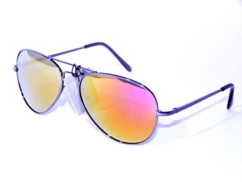 Metal Aviator Sunglasses with Mirrored Lens (Gunmetal, - Aviators Yellow Mirrored