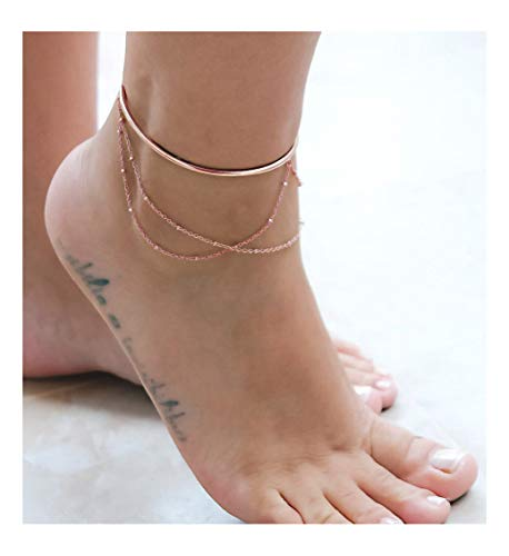 VACRONA 3 Layered Anklet,14K Rose Gold Filled Boho Cuff Wire Cute Tiny Beaded Satellite Charm Beach Handmade Dainty Foot Chain Bangle Ankle Bracelet for Women