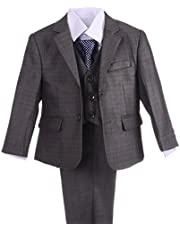 Dressy Daisy Boys Formal Dress Suits Wedding Outfit Grey Suits 5 Pcs Set Modern Fit