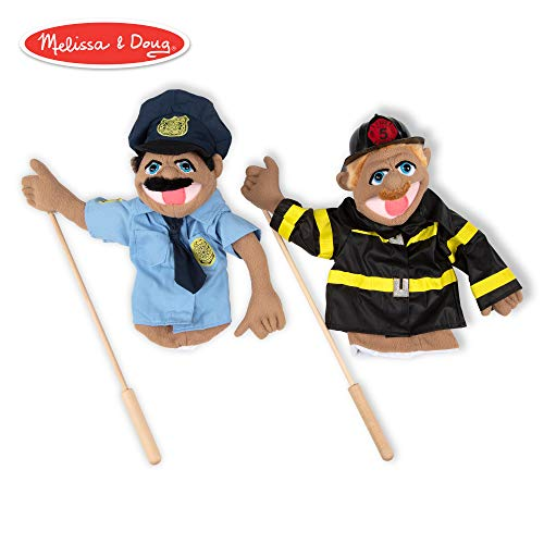 (Melissa & Doug Rescue Puppet Set - Police Officer and Firefighter )