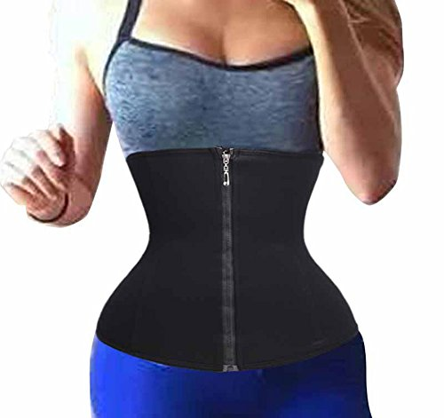 Waist Trainer Corsets-Fitness Workout Body Slimmer Zipper Shapewear by LODAY (XXS, BLACK)