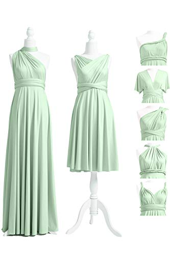 Infinity Dress with Bandeau, Convertible Dress, Bridesmaid Dress, Long,Short, Plus Size, Multi-Way Dress, Twist Wrap Dress (Short Regular Size, Sage)