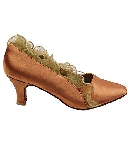 Mycket Fin Balsal Latin Tango Salsa Dansskor För Kvinnor Sera5517 2,5-tums Klack + Vikbar Pensel Bunt Tan Satin