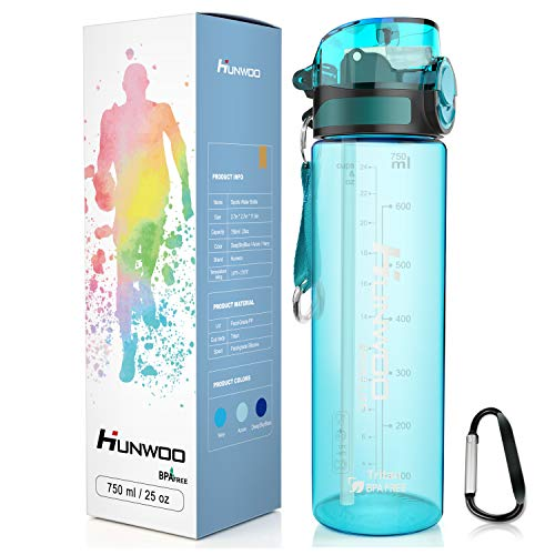 Hunwoo Sports Water Bottle Drinking Straw Leak-Proof Water Bottle Portable with Volume Marker and Carabiner-Non-Toxic-BPA Free-Eco-Friendly Tritan 25 Oz Meet Your Daily, Sports, Fitness(Navy)