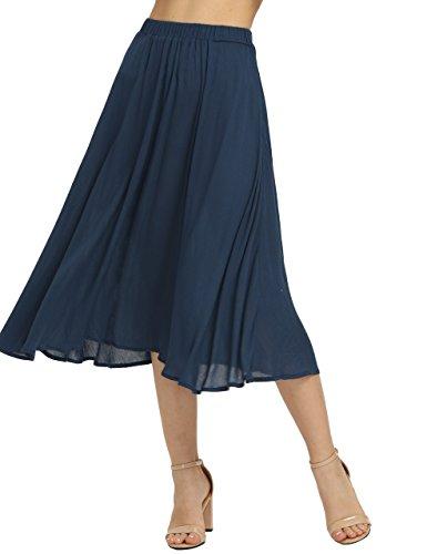 Cotton Summer Skirt (Romwe Women's Casual Summer Elastic Waist Midi Loose Swing Skirt Navy L)
