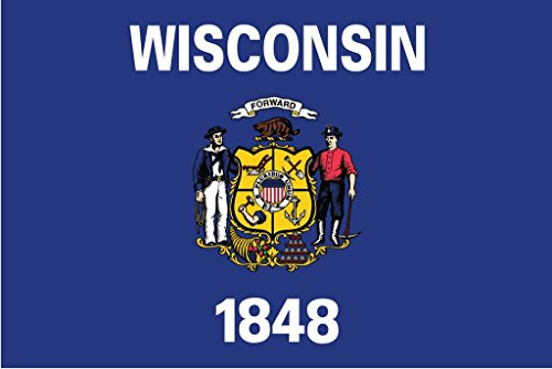 (JMM Industries Wisconsin Flag WI Vinyl Decal Sticker The Badger State Car Window Bumper 2-Pack 5-Inches by 3-Inches Premium Quality UV-Resistant Laminate PDS355)