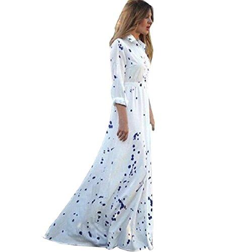 GONKOMA Women Summer Chiffon Beach Long Dress Elegant Evening Party Beach Dress (S, White) (Cake Flapper Topper)