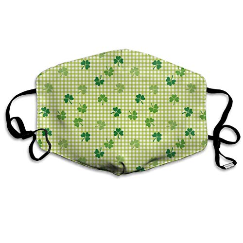NYF Unisex Anti Dust Mouth Mask Retro Classical Checkered Pattern Decorated with Cute Green Shamrocks Garden Plants Face Mask with Adjustable Earloops Camping