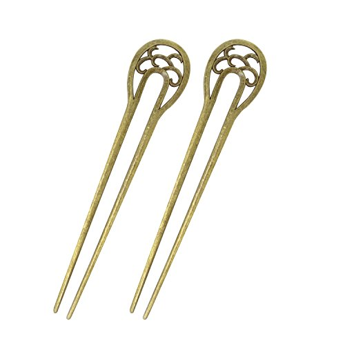 - Honbay 2PCS Fashion Long Hair Decor Antique Bronze U-Shape Hairpins Hair Sticks Hair Forks