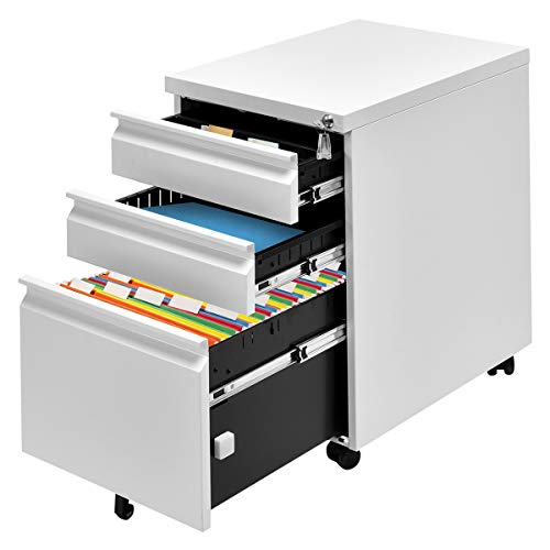 Giantex Rolling Mobile File W/3 Lockable Drawers and Pedestal for Office Study Room Home Steel Storage Cabinet (White) by Giantex (Image #2)