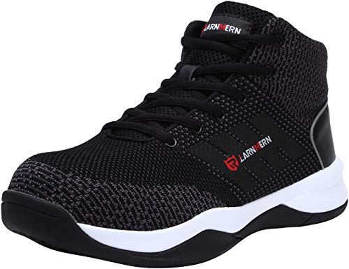 LARNMERN Work Safety Steel Toe Shoes Men, Lightweight Reflective Construction Boots, LM1035 (10) Black