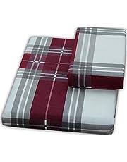 FLAROVAN 100% Cotton Heavyweight Flannel Duvet Cover - Twin (Grey RED Plaid)