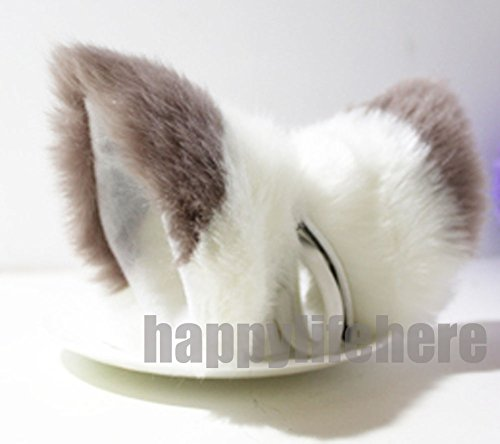 Cat Fox Ears Kitty Costume Halloween Cosplay Fancy Dress Mixed Color Kits (Brown with white)