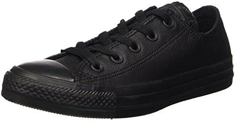 CONVERSE Unisex Chuck Taylor All Star Ox Fashion Sneaker Leather Shoe - Black Mono - Mens - 7 - Unisex Black Leather