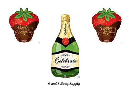 CHOCOLATE DIPPED STRAWBERRIES AND CHAMPAGNE BIRTHDAY Balloons Decorations Supplies