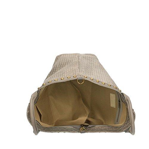 in imprimé Italy tressé bandoulière en Cm avec à main Gris en cuir véritable Made cuir 53x34x20 Chicca Borse Sac IxH7An