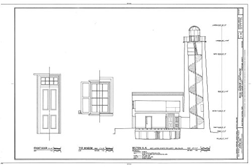 - Blueprint Diagram HABS MICH,42-COPHAR.V,2- (Sheet 6 of 7) - Rock Harbor Lighthouse, Copper Harbor, Keweenaw County, MI 12in x 08in